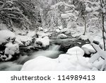 winter landscape, river on the forest