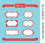 Set of retro ribbons and labels, vector set - stock vector