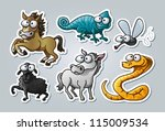 Vector illustrated set of various animals in cartoon style - stock vector