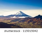 Cotopaxi volcano, Ecuador aerial shot - stock photo