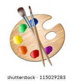 Art Palette With Paint Brush...