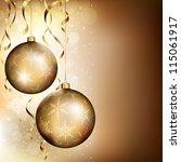 two golden baubles on dark... | Shutterstock .eps vector #115061917