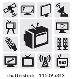 vector black tv icons set on... | Shutterstock .eps vector #115095343