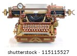 Steampunk style future Typewriter. Hand/home made model. Focus on the keyboard - stock photo