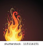 Pattern in a shape of a fire on the dark background. - stock vector