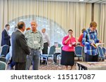 BUDAPEST, HUNGARY - OCTOBER 04: Participants and visitors at International Christian Publishers Book Forum 'Marketsquare Europe 2012 'on October 04, 2012 in Budapest, Hungary. - stock photo