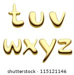 Vector image of gold alphabet small letter - stock vector