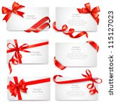 Set of beautiful cards with red gift bows with ribbons Vector | Shutterstock vector #115127023