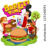 Big Burger Time - stock vector
