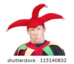portrait of jester - entertaining figure in typical costume - stock photo