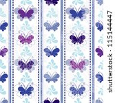Seamless pattern with silhouettes butterflies and lines (vector EPS 10) - stock vector