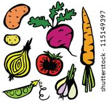 colourful healthy vegetable set | Shutterstock .eps vector #115149397
