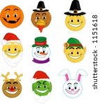 holiday smiley type faces | Shutterstock .eps vector #1151618