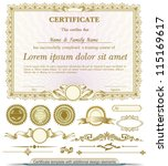 gold horizontal certificate... | Shutterstock .eps vector #115169617