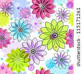 Seamless floral pattern with colorful vintage translucent flowers and balls (vector eps 10) - stock vector