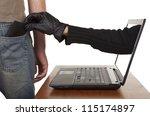 internet theft   a gloved hand...   Shutterstock . vector #115174897
