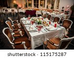 luxury banquet table setting at ... | Shutterstock . vector #115175287