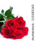 Bouquet Of Red Roses On A Whit...