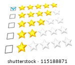 Rating concept. Five stars mark. Isolated on white. - stock photo