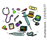 vector of doctor's tools... | Shutterstock .eps vector #115192177