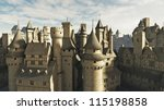 Medieval or fantasy town rooftops, 3d digitally rendered illustration - stock photo