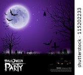 happy halloween scary on purple ... | Shutterstock .eps vector #115202233