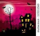 scary house   halloween... | Shutterstock .eps vector #115211563