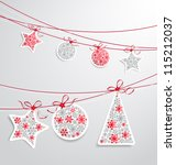 christmas label set with ribbons | Shutterstock .eps vector #115212037