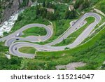 Serpentine in the Alps. Switzerland - stock photo