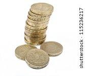One Pound Coins On A White...
