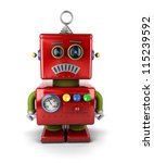 Little vintage toy robot that is sad over white background - stock photo