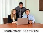 coworkers sharing information... | Shutterstock . vector #115240123