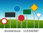 traffic sign on blue sky and... | Shutterstock . vector #115240387