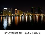 View of dubai city at night - stock photo