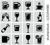 Drink icons set - stock vector