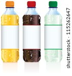 Soft drink bottles with blank labels - stock vector