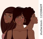 Three young pretty african amerivan wom?n with different hairstyles - stock vector