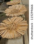piles of wooden chopsticks - stock photo