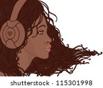 Profile of pretty african american girl with long hair in headphones - stock vector