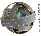 3d globe and roads around it.... | Shutterstock . vector #115308517
