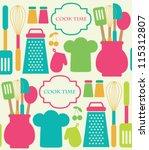 seamless kitchen pattern.... | Shutterstock .eps vector #115312807