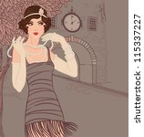 Flapper girls set: vintage woman in1920s style dresses standing on the street of old town - stock vector