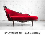 modern red sofa contemporary style in vintage room - stock photo