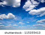 blue sky with clouds closeup | Shutterstock . vector #115355413