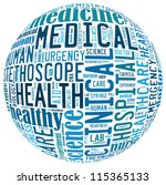 Medical info-text graphics arrangement concept composed in round shape on white background - stock photo