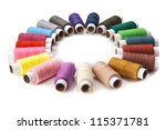 colorful thread isolated on white background - stock photo