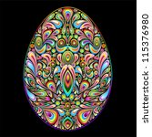 Easter Egg Psychedelic Art Design - stock photo