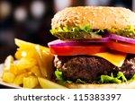 hamburger with fries   Shutterstock . vector #115383397