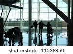 silhouette of family waiting at ... | Shutterstock . vector #11538850