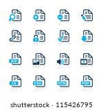 Documents Icons - 1 // Azure Series - stock vector
